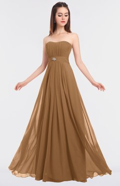 ColsBM Claire Light Brown Elegant A-line Strapless Sleeveless Appliques Bridesmaid Dresses