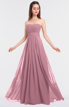 ColsBM Claire Light Coral Elegant A-line Strapless Sleeveless Appliques Bridesmaid Dresses