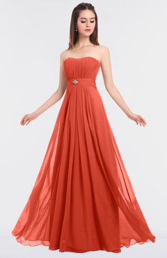 ColsBM Claire Living Coral Elegant A-line Strapless Sleeveless Appliques Bridesmaid Dresses