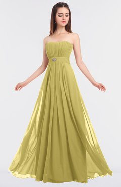 ColsBM Claire Misted Yellow Elegant A-line Strapless Sleeveless Appliques Bridesmaid Dresses