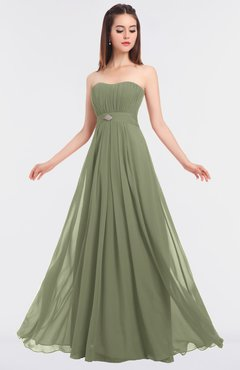 ColsBM Claire Moss Green Elegant A-line Strapless Sleeveless Appliques Bridesmaid Dresses