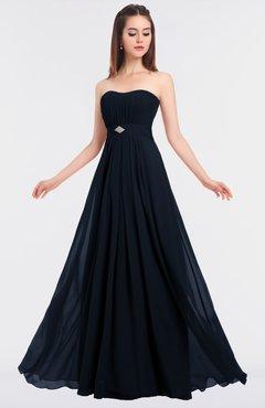 ColsBM Claire Navy Blue Elegant A-line Strapless Sleeveless Appliques Bridesmaid Dresses
