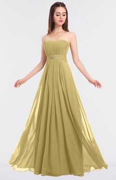 ColsBM Claire New Wheat Elegant A-line Strapless Sleeveless Appliques Bridesmaid Dresses