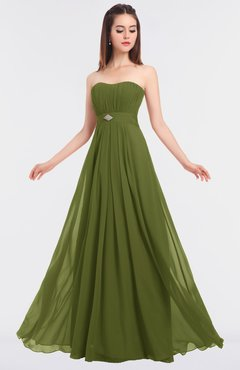 ColsBM Claire Olive Green Elegant A-line Strapless Sleeveless Appliques Bridesmaid Dresses