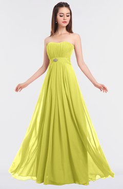ColsBM Claire Pale Yellow Elegant A-line Strapless Sleeveless Appliques Bridesmaid Dresses
