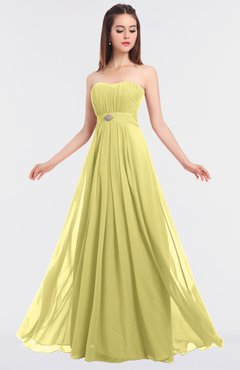 ColsBM Claire Pastel Yellow Elegant A-line Strapless Sleeveless Appliques Bridesmaid Dresses