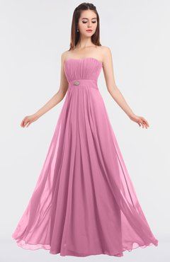 ColsBM Claire Pink Elegant A-line Strapless Sleeveless Appliques Bridesmaid Dresses