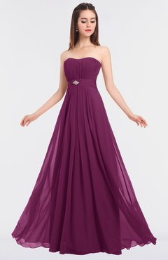 ColsBM Claire Raspberry Elegant A-line Strapless Sleeveless Appliques Bridesmaid Dresses