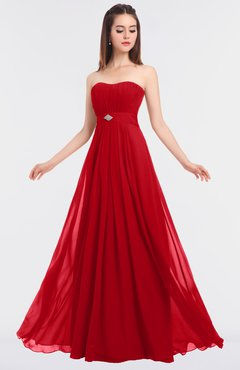 ColsBM Claire Red Elegant A-line Strapless Sleeveless Appliques Bridesmaid Dresses