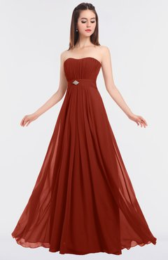 ColsBM Claire Rust Elegant A-line Strapless Sleeveless Appliques Bridesmaid Dresses