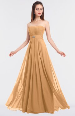 ColsBM Claire Salmon Buff Elegant A-line Strapless Sleeveless Appliques Bridesmaid Dresses