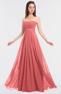 ColsBM Claire Shell Pink Elegant A-line Strapless Sleeveless Appliques Bridesmaid Dresses
