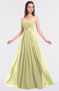 ColsBM Claire Soft Yellow Elegant A-line Strapless Sleeveless Appliques Bridesmaid Dresses