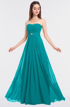 ColsBM Claire Teal Elegant A-line Strapless Sleeveless Appliques Bridesmaid Dresses