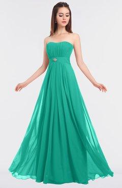 ColsBM Claire Viridian Green Elegant A-line Strapless Sleeveless Appliques Bridesmaid Dresses