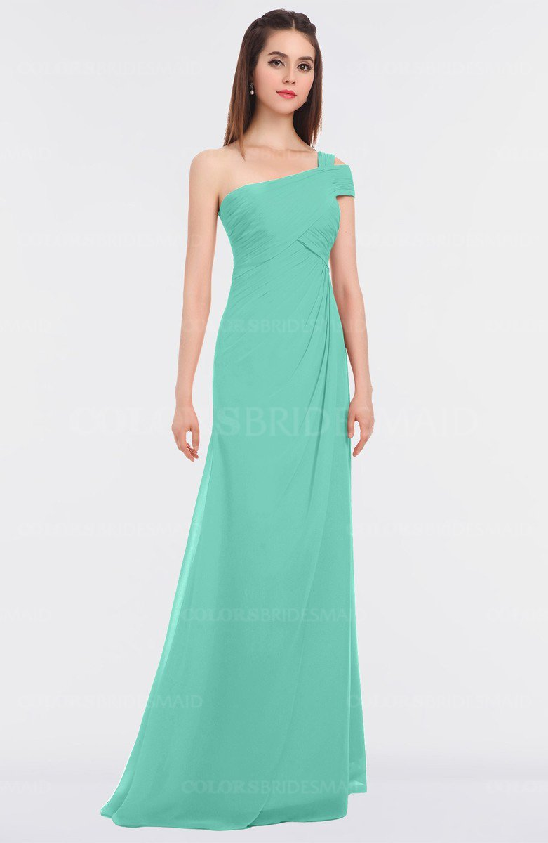 Mint green elegant a line asymmetric neckline zip up floor length elegant a line asymmetric neckline zip up floor length bridesmaid dresses ombrellifo Image collections