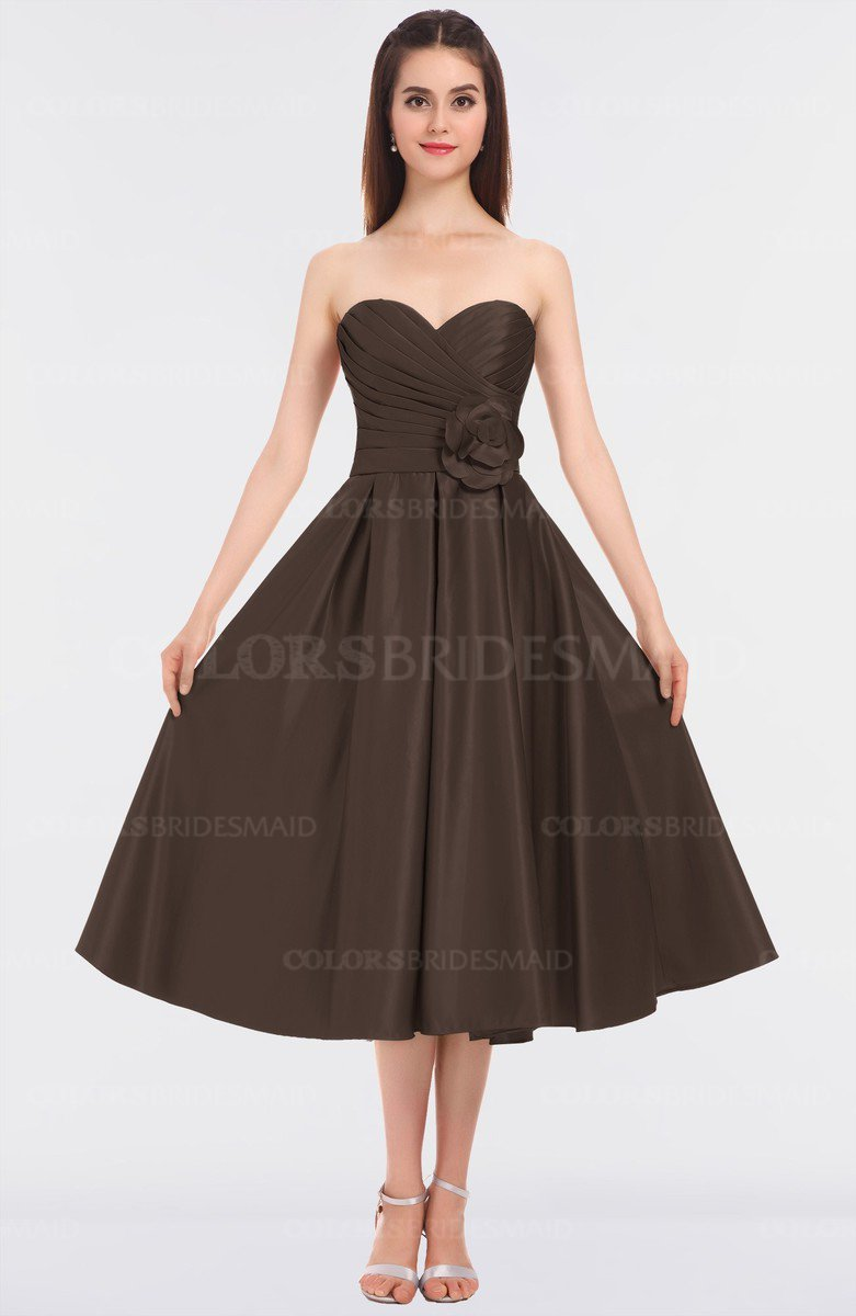 013857b7e8 ColsBM Kallie Chestnut Brown Gorgeous A-line Strapless Sleeveless Flower Bridesmaid  Dresses