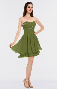 fb28a45b290bc ColsBM Makenna Olive Green Glamorous A-line Strapless Sleeveless Mini  Beaded Bridesmaid Dresses