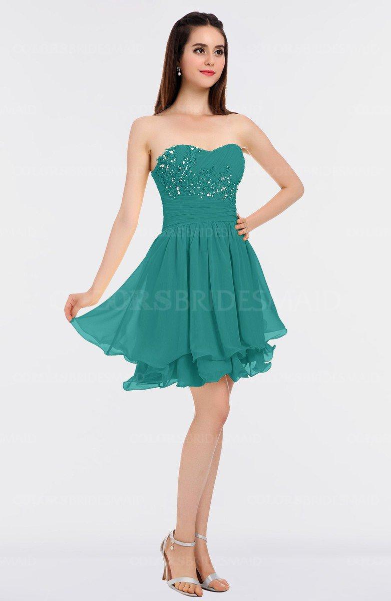 1b15028445e ColsBM Makenna Porcelain Glamorous A-line Strapless Sleeveless Mini Beaded Bridesmaid  Dresses