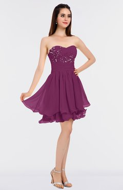 f1c860d7066d ColsBM Makenna Raspberry Glamorous A-line Strapless Sleeveless Mini Beaded  Bridesmaid Dresses