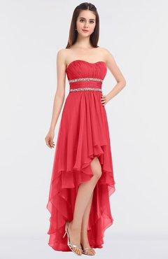 635300dac7 ColsBM Cynthia Coral Elegant A-line Strapless Sleeveless Zip up Floor  Length Bridesmaid Dresses