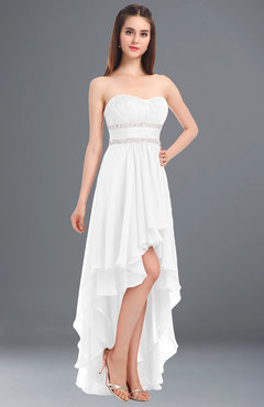 ColsBM Cynthia White Elegant A-line Strapless Sleeveless Zip up Floor Length Bridesmaid Dresses