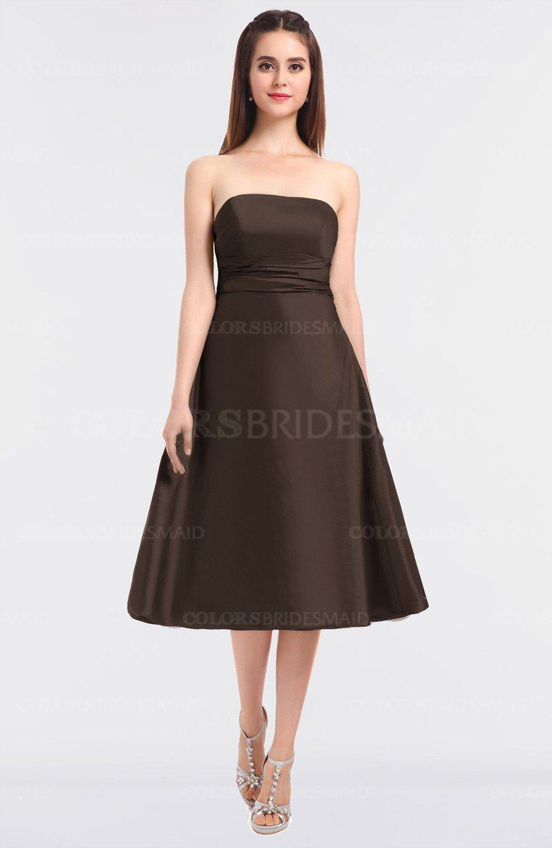 8397ada1dc ColsBM Stacy Chestnut Brown Elegant Ball Gown Bateau Sleeveless Zip up  Ruching Bridesmaid Dresses