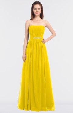 1d0e23c0c3ec ColsBM Lexi Yellow Elegant Bateau Sleeveless Zip up Floor Length Appliques Bridesmaid  Dresses