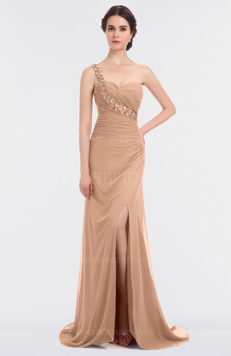 5b7ee4098896 ColsBM Selah Almost Apricot Sexy Sheath Asymmetric Neckline Sleeveless  Sweep Train Beaded Bridesmaid Dresses