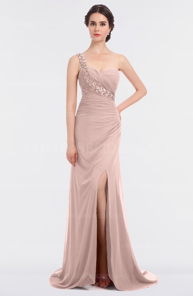 Colsbm Selah Dusty Rose Y Sheath Asymmetric Neckline Sleeveless Sweep Train Beaded Bridesmaid Dresses