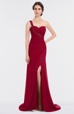 ColsBM Selah Maroon Sexy Sheath Asymmetric Neckline Sleeveless Sweep Train Beaded Bridesmaid Dresses