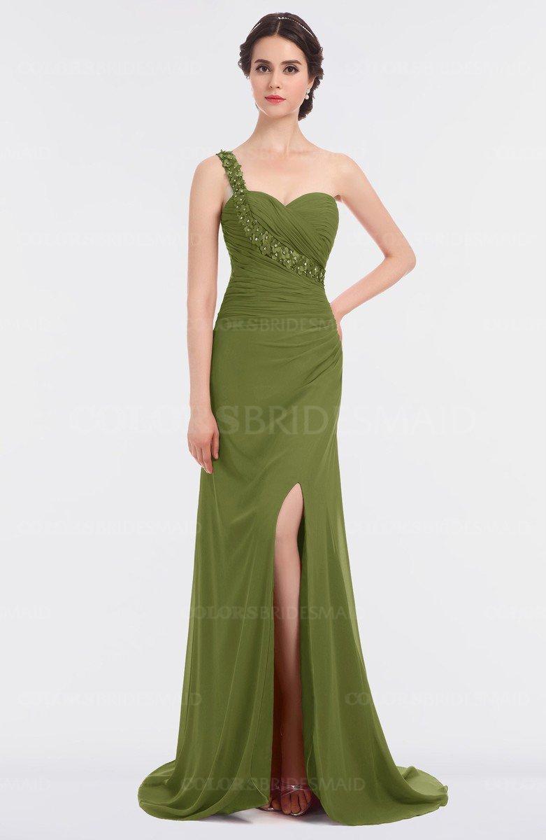 Colsbm Selah Olive Green Y Sheath Asymmetric Neckline Sleeveless Sweep Train Beaded Bridesmaid Dresses