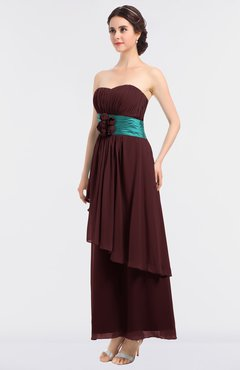 ColsBM Johanna Burgundy Elegant A-line Sleeveless Zip up Ankle Length Ruching Bridesmaid Dresses