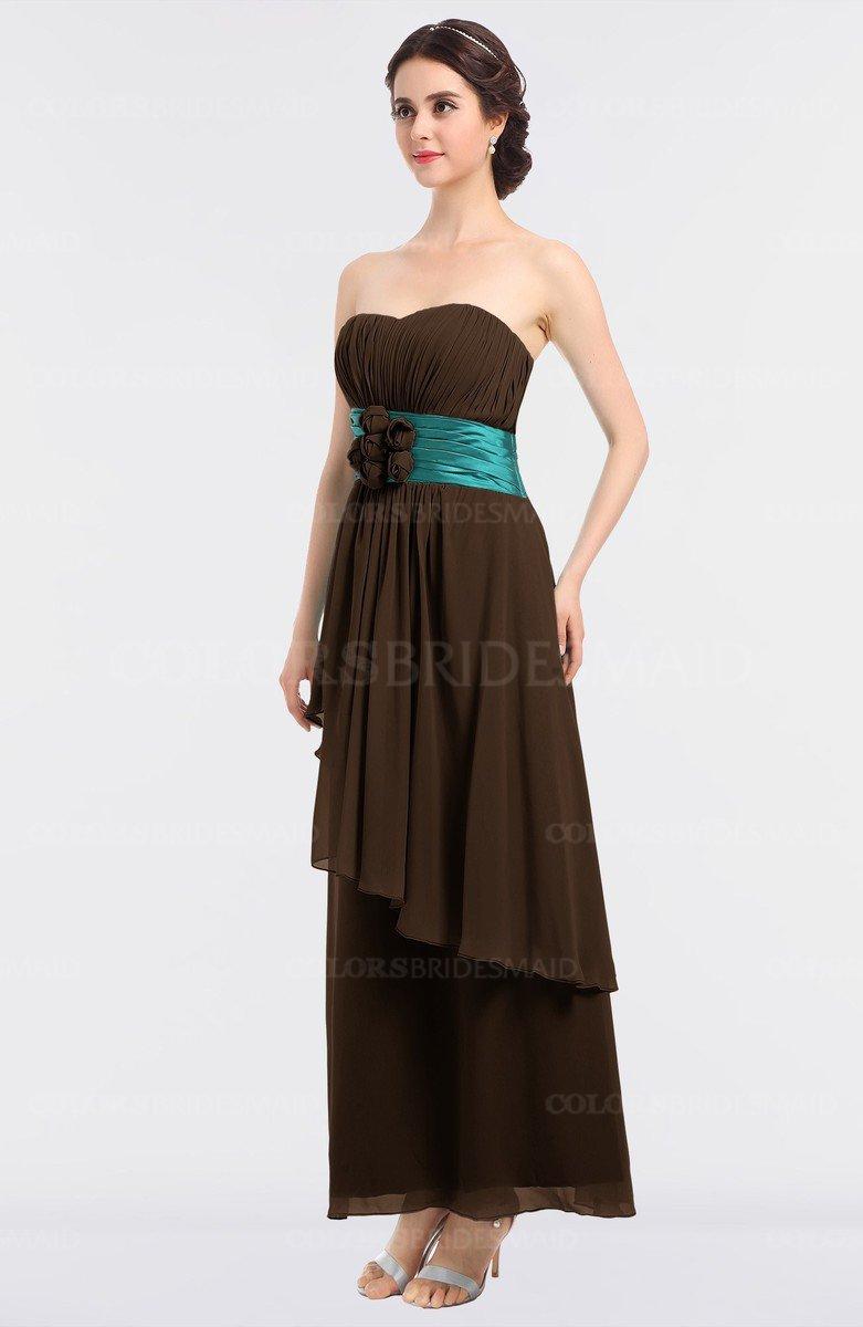 Chocolate brown elegant a line sleeveless zip up ankle length elegant a line sleeveless zip up ankle length ruching bridesmaid dresses ombrellifo Gallery