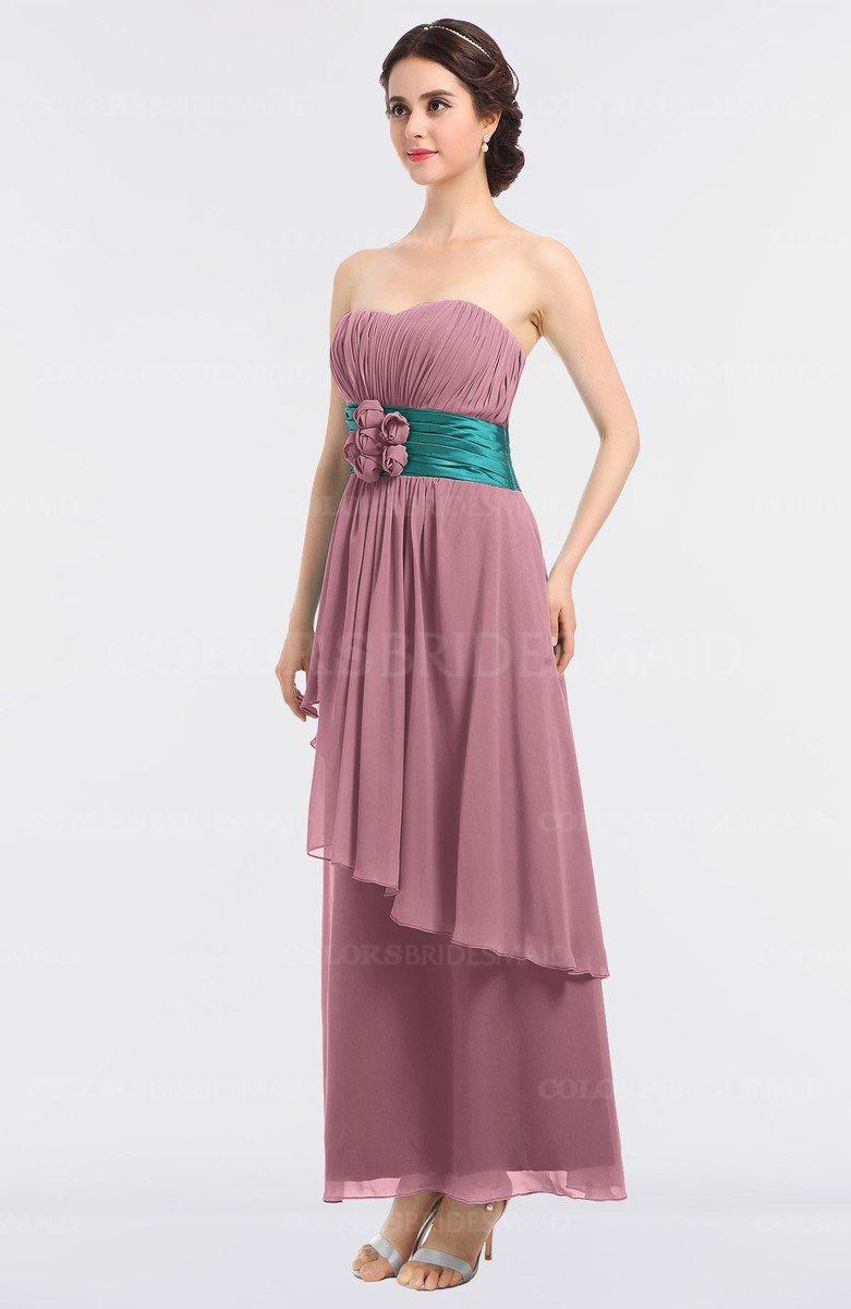 Rosebloom Elegant A-line Sleeveless Zip up Ankle Length ...