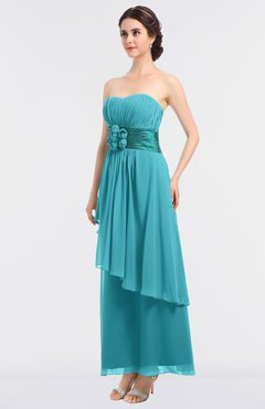 ColsBM Johanna Turquoise Elegant A-line Sleeveless Zip up Ankle Length Ruching Bridesmaid Dresses