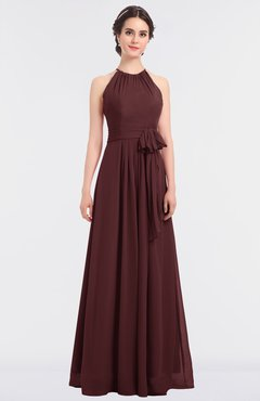 ColsBM Ellie Burgundy Classic Halter Sleeveless Zip up Floor Length Flower Bridesmaid Dresses