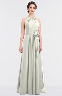 ColsBM Ellie Cream Classic Halter Sleeveless Zip up Floor Length Flower Bridesmaid Dresses