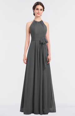 ColsBM Ellie Grey Classic Halter Sleeveless Zip up Floor Length Flower Bridesmaid Dresses