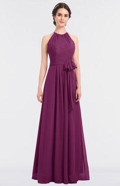 ColsBM Ellie Raspberry Classic Halter Sleeveless Zip up Floor Length Flower Bridesmaid Dresses