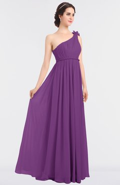 ColsBM Lucy Dahlia Mature Asymmetric Neckline Sleeveless Zip up Floor Length Ruching Bridesmaid Dresses