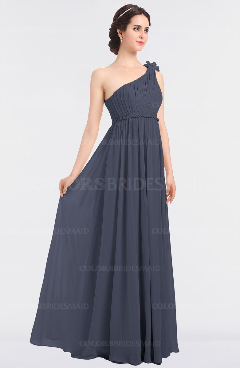 45c258ed14 ColsBM Lucy Nightshadow Blue Mature Asymmetric Neckline Sleeveless Zip up  Floor Length Ruching Bridesmaid Dresses