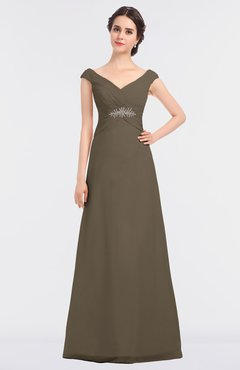 ColsBM Nadia Otter Elegant A-line Short Sleeve Zip up Floor Length Beaded Bridesmaid Dresses