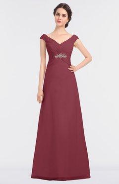 35d59727b3 ColsBM Nadia Wine Elegant A-line Short Sleeve Zip up Floor Length Beaded Bridesmaid  Dresses