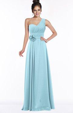 ColsBM Tegan Aqua Modern Sleeveless Zip up Chiffon Floor Length Flower Bridesmaid Dresses