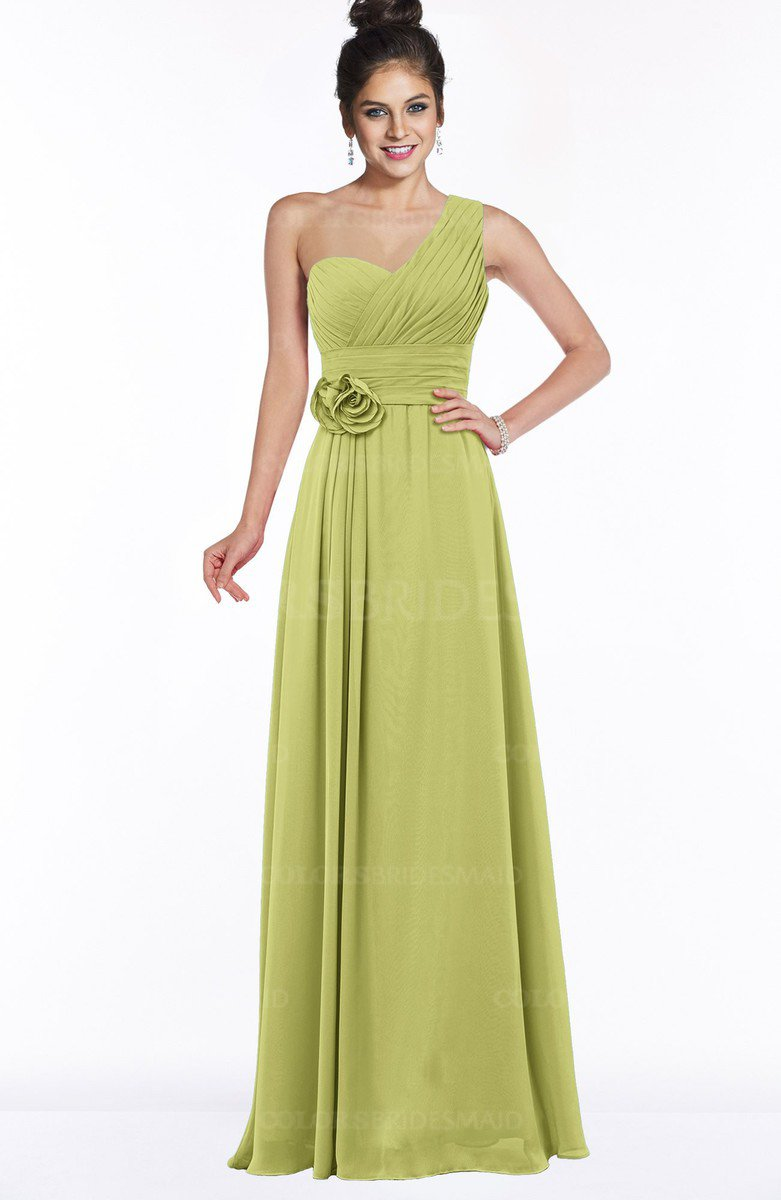 946582e52f ColsBM Tegan Pistachio Modern Sleeveless Zip up Chiffon Floor Length Flower  Bridesmaid Dresses