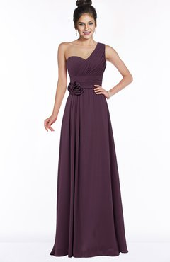 ColsBM Tegan Plum Modern Sleeveless Zip up Chiffon Floor Length Flower Bridesmaid Dresses