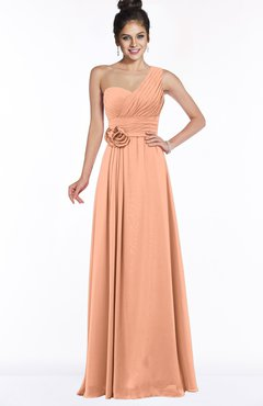 ColsBM Tegan Salmon Modern Sleeveless Zip up Chiffon Floor Length Flower Bridesmaid Dresses