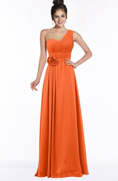 ColsBM Tegan Tangerine Modern Sleeveless Zip up Chiffon Floor Length Flower Bridesmaid Dresses