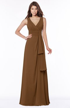ColsBM Giselle Brown Gorgeous A-line V-neck Sleeveless Half Backless Pick up Bridesmaid Dresses